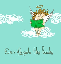 With angel reading a book vector