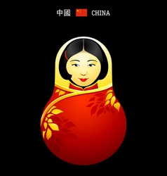 Matryoshka China girl vector image