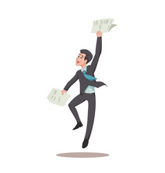 Businessman or manager is jumping for joy with vector
