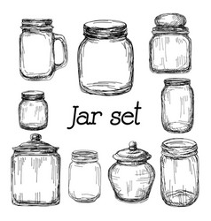 hand drawn jar set vector image