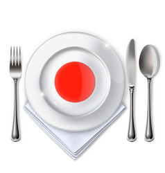 a plate with an japanese flag vector image