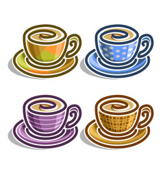 set abstract coffee cups vector image