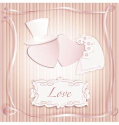 Wedding heart pink vector image