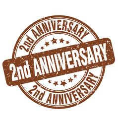 2nd anniversary brown grunge stamp vector