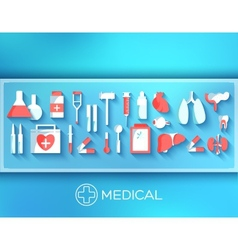 Flat medicine equipment set icon concept on vector