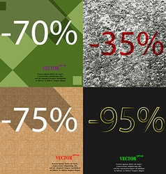 35 75 95 icon set of percent discount on abstract vector