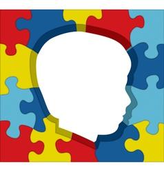 Autism child profile puzzle vector