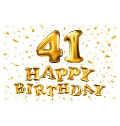 41 years golden aluminum foil balloon anniversary vector image
