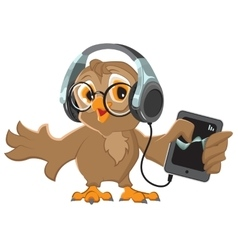 Owl with headphones listening to music vector