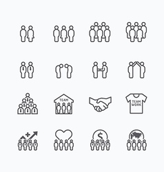 Team and business silhouette icons flat vector