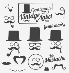 Retro hipster gentlemen icon set vector