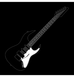 Electric guitar contour on black vector