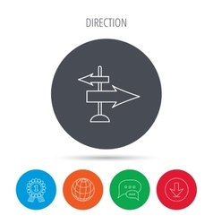 Direction arrows icon destination way sign vector