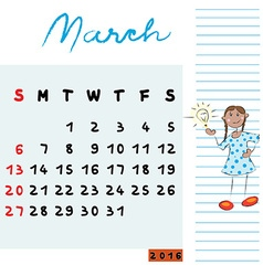March 2016 kids vector