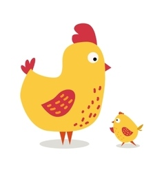 Cute cartoon chicken mother and chuk kid vector