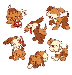 Six cartoon puppies vector