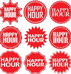 Happy hour red label happy hour red sign happy vector