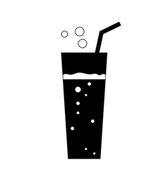 Glass soda icon black vector