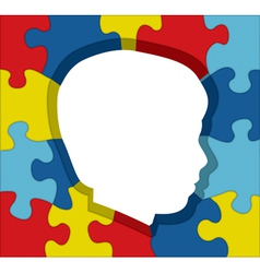 Autism Child Profile Puzzle vector image