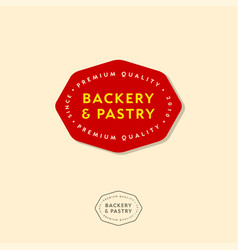 Bakery emblems bakery red badge vector