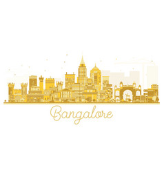Bangalore city skyline golden silhouette vector