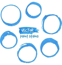 Blue marker paint circles set vector