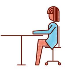 businesswoman sitting in chair desk office work vector image