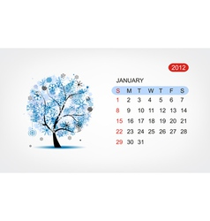 calendar 2012 january Art tree design vector image