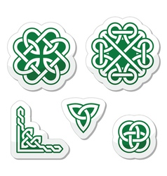 Celtic green knots patterns - vector image