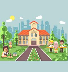 children characters schoolboy vector image vector image