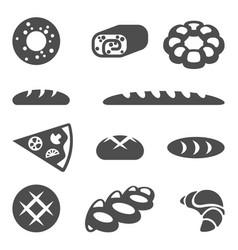 Collection of edible products isolated vector