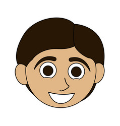 Colorful caricature front face boy with short hair vector