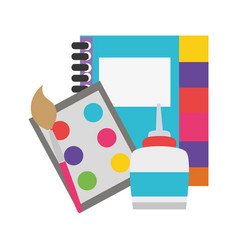 Colorful notebook and watercolor with pain brush vector