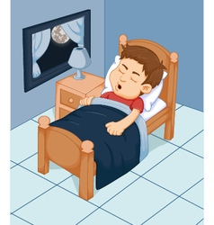 cute boy cartoon sleeping in the bedroom vector image