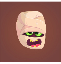 Cute mummy screaming head vector