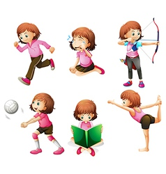 Different activities of a little lady vector image vector image