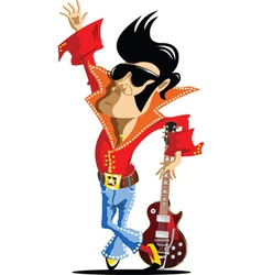 elvis cartoon vector image vector image
