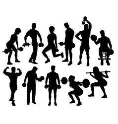 fitness gym activity silhouettes vector image vector image