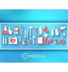 Flat medicine equipment set icon concept on vector