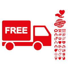 Free delivery icon with lovely bonus vector