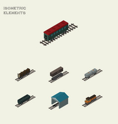 Isometric transport set of subway vehicle depot vector