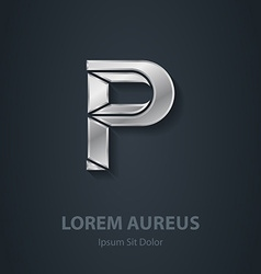 Letter p elegant silver font template for company vector