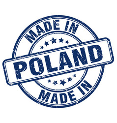 made in poland blue grunge round stamp vector image vector image