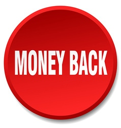 Money back red round flat isolated push button vector