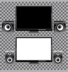 monitors and speakers on a checkered background vector image