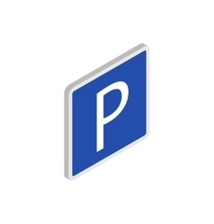 Parking sign icon isometric 3d style vector image