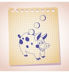 Piggy bank note paper cartoon sketch 2 vector