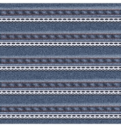 Realistic denim seamless texture with white lace vector image