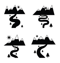 river icon set vector image vector image