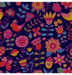 Seamless texture with flowers and birds Endless vector image